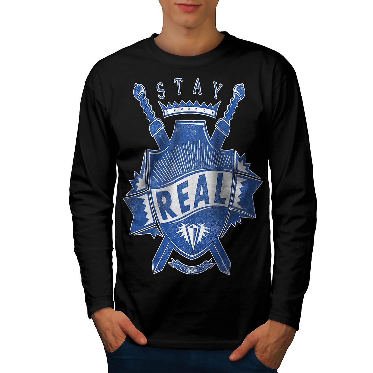 Stay Real Ambition Sword Shield Men Black Long Sleeve T-shirt | Wellcoda