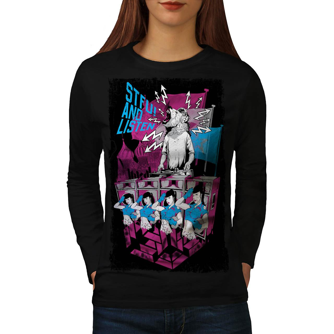 DJ Music Brown Bear Dance Rave Women Black Long Sleeve T-shirt | Wellcoda