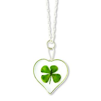 Sterling Silver Trim Four Leaf Clover Heart Pendant With Silver-plated Chain Necklace - 20 Inch