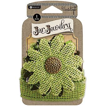 Embellished Burlap Flower W/Tie-Green JJ0060