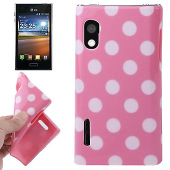 Protective case TPU points of case for mobile LG Optimus L5 / E610 pink