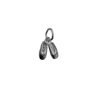 Silver 10x10mm Ballet Slippers Pendant or Charm