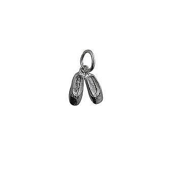 Sølv 10x10mm Ballett Slippers anheng eller sjarm