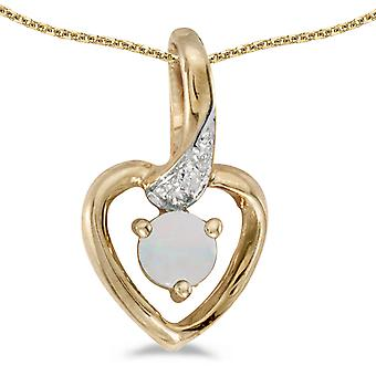 14k Yellow Gold Round Opal And Diamond Heart Pendant with 18