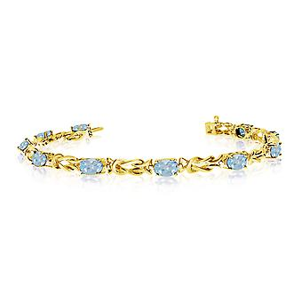 10K Yellow Gold Oval Aquamarine Reef Knot Bracelet