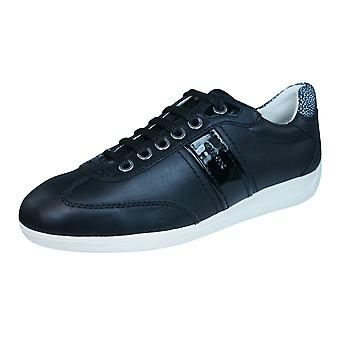 Geox D Myria A Womens Leather Trainers / Shoes - Black