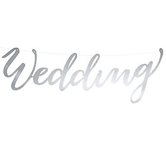 Silver Card Wedding Cut Out Word Banner - Wedding Venue Decoration