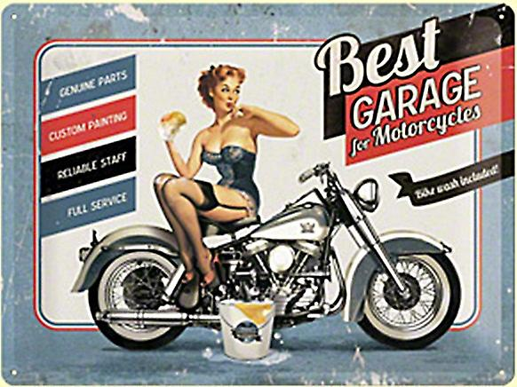 Best Garage For Motorcycles large embossed steel sign  400mm x 300mm (na)
