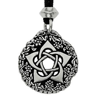 Handmade Tudor Rose Pentacle of the Goddess Pewter Pendant ~ Symbol of Protection ~ 36 inch Black Cord