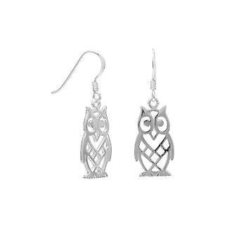 Poliertem Sterling Silber ausgeschnitten Eule Design, dass französische Draht Ohrringe Eulen 10 X 20 mm messen