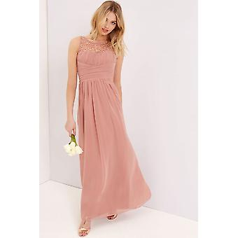 Little Mistress Peach Embellished Maxi Dress