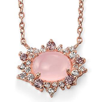 925 Silver Rose Gold Plated Quartz Rose And Zirconium Necklace Trend