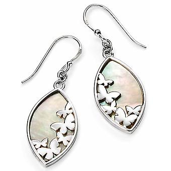 925 Silver Mother Of Pearl And Butterfly Earring