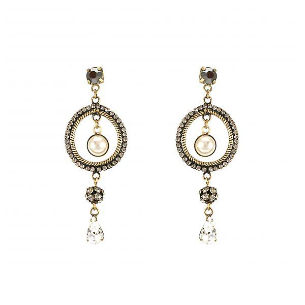 W.A.T Enchant Pearl And Crystal Round Dangle Fashion Earrings