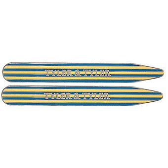Tyler and Tyler Enamel Pinstripe Collar Stiffeners - Yellow/Blue