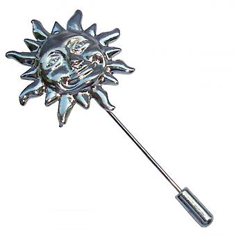 Bassin and Brown Sun Lapel Pin - Silver