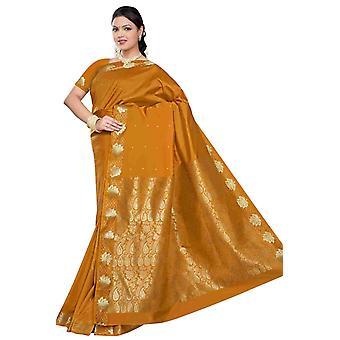 Mostaza - Benares arte seda Sari / sari/Bellydance tela (India)