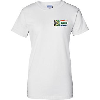 South Africa Grunge Country Name Flag Effect - Ladies Chest Design T-Shirt