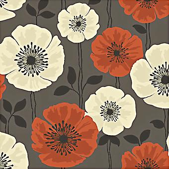 Fine Decor Poppie Wallpaper Floral Flowers Bold Print Chocolate Orange Cream