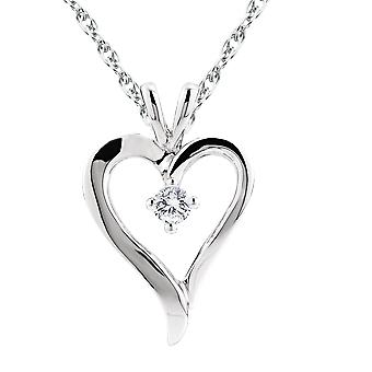 1/6 CT Solitaire Heart Shape Diamond Pendant Polished White Gold 20mm Tall