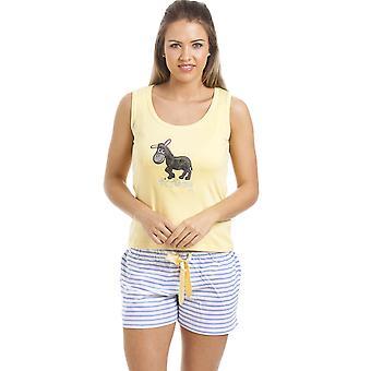 Camille Lemon Yellow Donkey Motif Short Pyjama Set