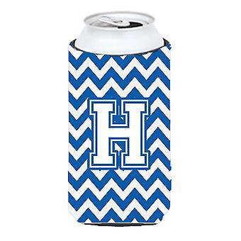 Letter H Chevron blauw en wit hoog Boy drank isolator Hugger
