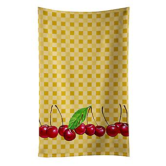 Carolines Treasures  BB7168KTWL Cherries on Basketweave Kitchen Towel