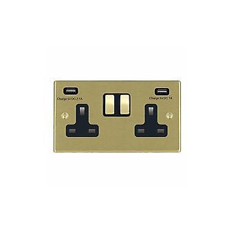 Hamilton Litestat Hartland Satin Brass SP SS2 + USBx2 SB/BL