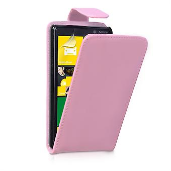 Yousave Accessories Nokia Lumia 820 Leather-Effect Flip Case - Baby Pink
