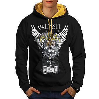 Valholl North War Men Black (Gold Hood)Contrast Hoodie | Wellcoda