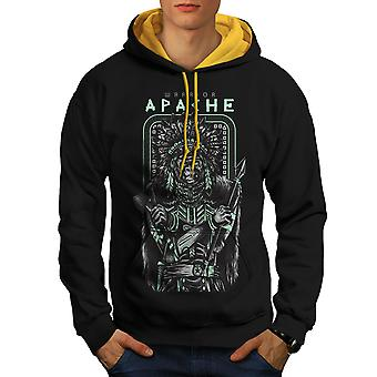Warrior Apache Fashion Men Black (Gold Hood) Contrast Hoodie | Wellcoda