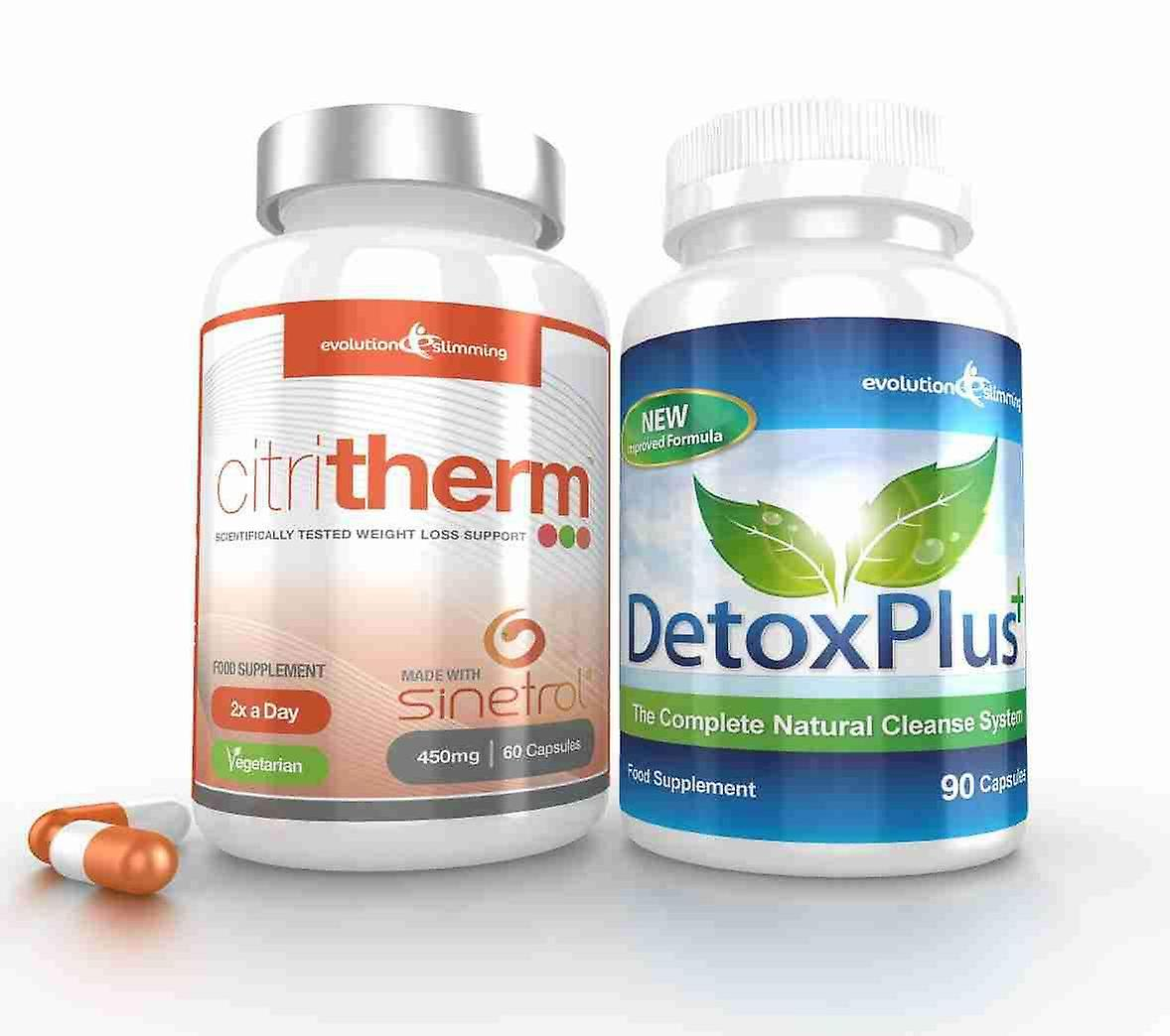 CitriTherm Fat Burner with DetoxPlus Combo - 1 Month Supply - Fat Burning and Colon Cleansing - Evolution Slimming