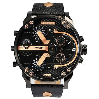 Diesel Dz7350 Mr Daddy 2.0 Black Leather Chronograph Men's Watch