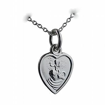 Silver 12x11mm heart St Christopher Pendant with a rolo Chain 24 inches