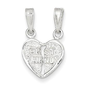 925 Sterling Silver Best Friends Break-Apart Heart Charm Pendant - 17mm