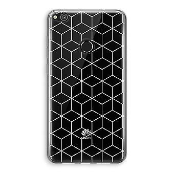 Huawei Ascend P8 Lite (2017) Transparant Case - Cubes black and white