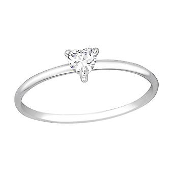 Heart - 925 Sterling Silver Jewelled Rings