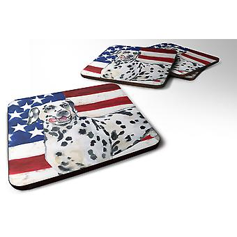 Set of 4 Dalmatian Patriotic Foam Coasters Set of 4
