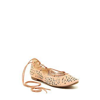 Nine West Womens Zavanna Leather Almond Toe Ankle Wrap Ballet Flats