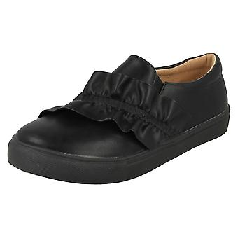 Girls Spot On Ruffle Vamp Flat Shoes H2458