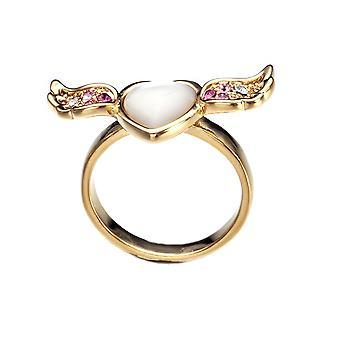 Bague Femme Coeur, Aile en Nacre orné de cristal de Swarovski Blanc Rose
