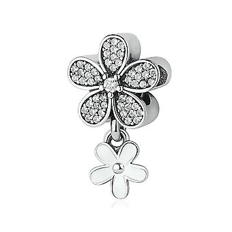Sterling silver pendant charm Double daisy PSC077