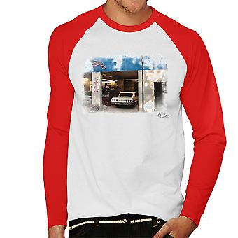 Chevrolet Impala At The Auto Shop White Men's Baseball Long Sleeved T-Shirt