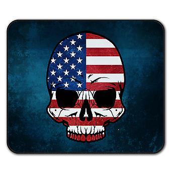 Skull Goth Flag Death USA  Non-Slip Mouse Mat Pad 24cm x 20cm | Wellcoda
