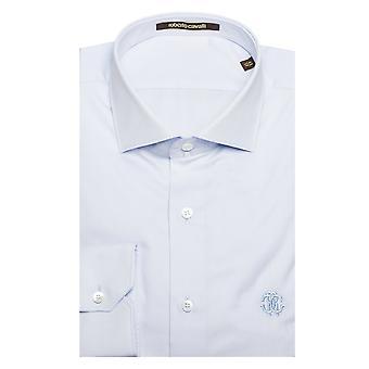 Roberto Cavalli uomo di diffusione colletto cotone abito camicia blu chiaro