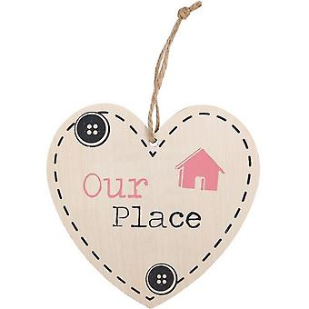 Something Different Our Place Hanging Heart Sign