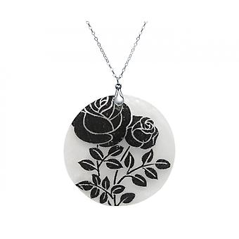 Gemshine - ladies - necklace - pendant - Locket - mother of Pearl - ROSES - 925 Silver - Black - White - 5 cm