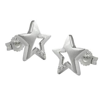 Star partially frosted earring Silver Star cubic zirconia Stud Earrings 925 sterling silver