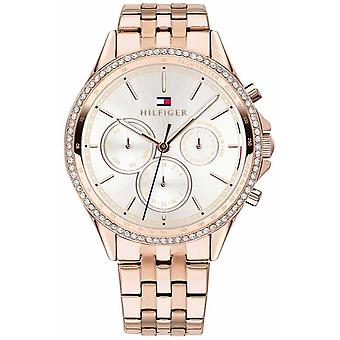 Tommy Hilfiger Womens Rose Gold Plated Crystal Set Multifunction 1781978 Watch