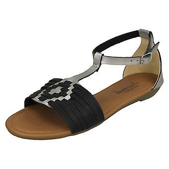 Las señoras Savannah t tejer sandalias F00052 - sintético negro - Reino Unido tamaño 6 - UE tamaño 39 - tamaño de los E.E.U.U. 8
